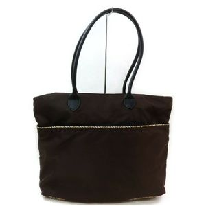 Auth Burberry Brown Nylon Tote Bag #2852B76